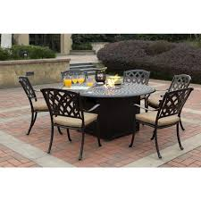 Firepit Dining Table by Darlee Ocean View Cast Aluminum 7 Piece Dining Set With Round