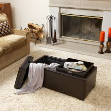 storage ottoman with tray in living room contemporary with trays