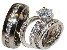 stainless steel wedding ring sets wedding ring sets cubic zirconia his hers diy wedding 47945
