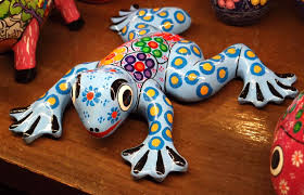 frogville ornamental frogs colorful ceramic frog