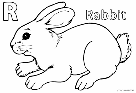 Rabbits Coloring Pages For Kids Funny Coloring Rabbit Colouring Page