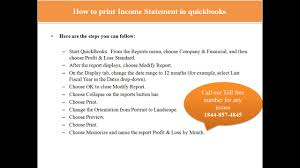 how to print income statement in quickbooks or call tollfree at