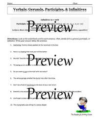 verbals practice or review worksheet activity u0026 task cards tpt