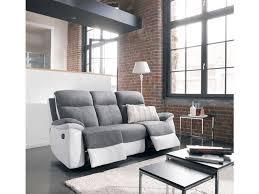 canape gris et blanc canapé fixe 3 places 2 relaxation manuel en tissu white coloris