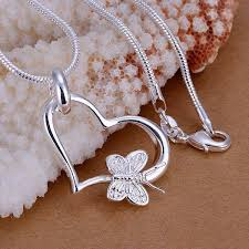 silver heart necklace wholesale images Wholesale silver plated pendant 925 fashion silver jewelry jpg