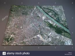 Vienna Map Satellite View Of Vienna Map Austria Map In 3d Stock Photo