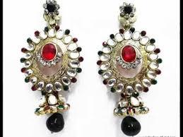 Chandelier Earrings India Bridal Heavy Work Traditional Chandelier Earring From India