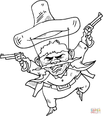 gunslinger is about to draw his guns coloring page free