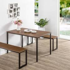 zinus modern studio collection 3 piece brown soho dining table