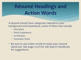 Action Words Resume Riverside County Office Of Education Career Technical Education