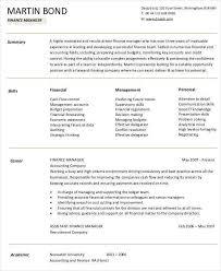 Finance Manager Sample Resume by Finance Resume Template Billybullock Us