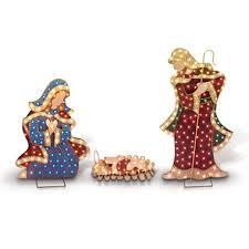 Nativity Sets Outdoor Plastic Lighted Painted Metal Outdoor Pre Lit Nativity Set Sam U0027s Club