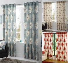 Curtain Pairs Annabella Lined Eyelet Curtains Ready Made Ring Top Floral Curtain