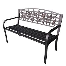 park benches jeco 50 in flowers and bird curved back steel park bench pb009
