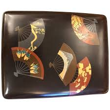 japanese fans for sale japanese lacquer box with scattered fans for sale at 1stdibs