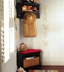 Corner Storage Bench Plans by Mini Mudroom Corner Storage Bench