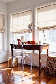 Pottery Barn Roman Shades Jet City Blinds With Transitional Home Office And Area Rugs Bamboo