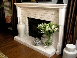 country full wall brick fireplace makeover white ideas home