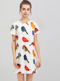 print dress allover bird print dress shein sheinside