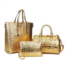 3pcs luxury alligator crocodile women leather handbag set famous