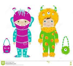Cute Halloween Vector Cute Kids In Halloween Costumes Cartoon Vector Stock Vector