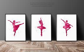 ballerina set of 3 art print pink girls nursery room decor