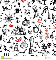 Halloween Skeleton Pattern by Halloween Hand Drawn Pattern For Your Design Royalty Free Stock