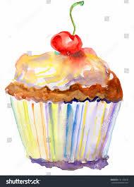 Cherry Cupcake Invitation Card Royalty Card Painted Cupcake Cupcake Cherries Watercolor Stock