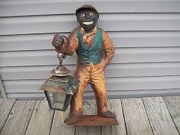 antique original vintage black americana cast iron lawn jockey 37