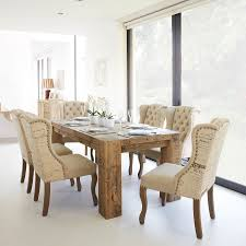 reclaimed wood dining table and 6 renee script chairs
