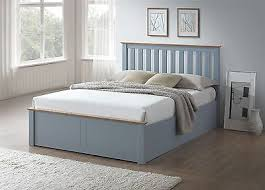 Wooden Ottoman Bed Frame Wood Ottoman Bed Frame Storage Small 4ft Grey