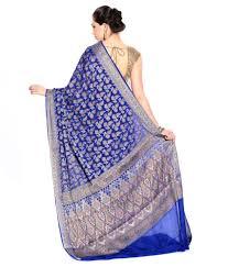 Buy Royal Blue Pure Silk Zain Textiles Banarasi Royal Blue Colour Pure Chiffon Silk Saree