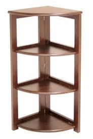 espresso finish wood foldable 4 tier corner shelves bookcase plant
