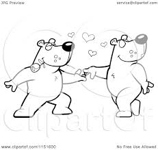cartoon clipart of a black and white bear couple doing a romantic