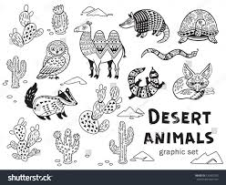 collection desert animals vector outline ornamental stock vector