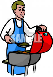Backyard Clip Art Clip Art Picture Of A Man Cooking Hamburgers On A Grill