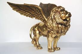 gold lion statues lion