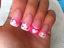 acrylic nails neon pink and white valentines design youtube