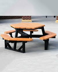 recycled plastic picnic tables hexagon recycled plastic picnic table park warehouse