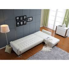 Sofa Beds With Mattress by Marsden White Tufted Bi Cast Leather 2 Piece Sectional Sofa Bed