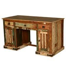 Rustic Wood Office Desk Rustic Pedestal Reclaimed Wood Office Desk