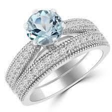 Vintage Style Cushion Cut Engagement Rings Blue Aquamarine U0026 Diamond Engagement Ring Set Vintage Style