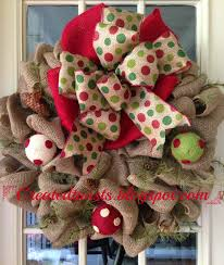 created twists christmas burlap wreath with polka dot ribbon and