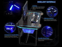 Perfect Gaming Desk by Amazon Com E Blue Usa Wireless Glowing Led Pc Gaming Desk Table