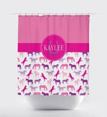 Monogram Shower Curtains Equestrian Shower Curtain For Girls U0026 Boys Horse Decor U2013 Shop