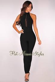 black mesh jumpsuit mesh halter bandage jumpsuit
