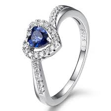 blue wedding rings silver engagement ring w blue cz diamonds accent