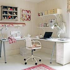 home office country style with striped wallpaper and open shelving