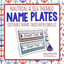 nautical and sea theme desk name plates editable name tags with