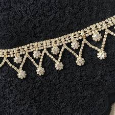 popular crystal trims gold buy cheap crystal trims gold lots from 1 yard pendant rhinestone gold crystal trim chain beautiful glass chain for crystal chandelier china